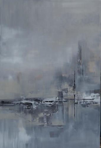 Abstrakti maalaus satamasta